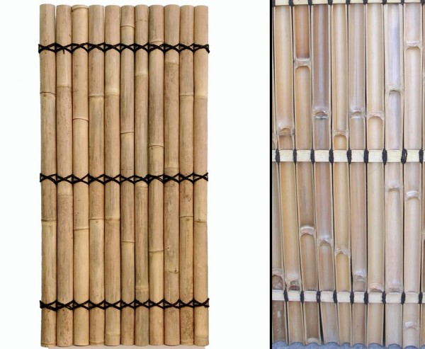 """Bambus Zaun """"Apas"""" gelblich, starre Verschnurrrung, Druch. 6 bis 8cm, 180 x 90cm"""