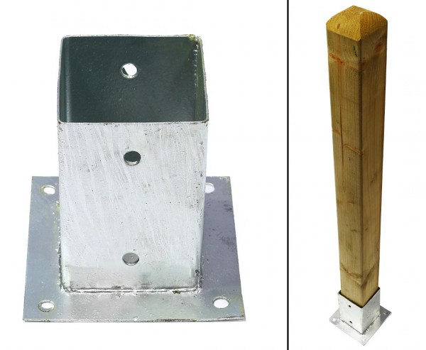 Aufschraubhülse für Zaunpfosten mit 9x9cm, Grundfläche 15x15cm