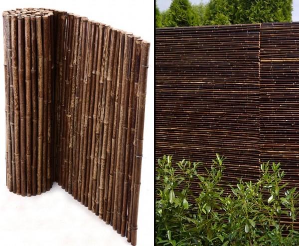 Schwarze Bambusmatte 150 x 250cm, Durchm. Bambusstäbe ca. 24mm