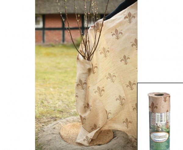 Winterschutz Jute Gewebe, im Lilien Design, Abmessungen 105 x 500cm, natur/ dunkel beige