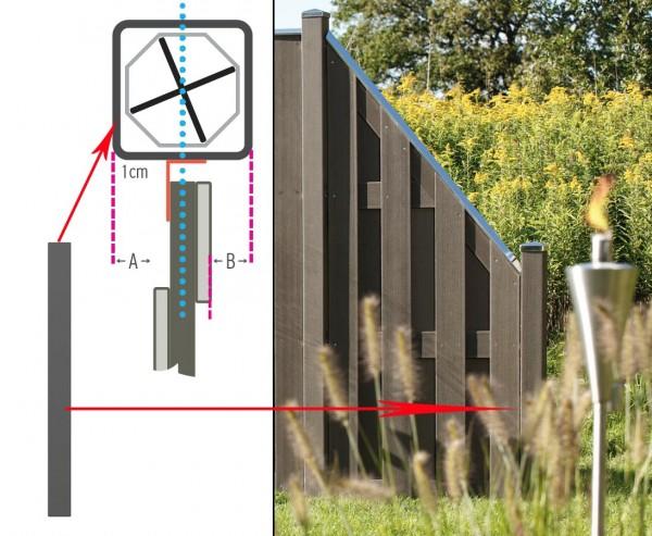 Zaunpfosten kurz, WPC mit Metallkern 100x8,4x8,4cm