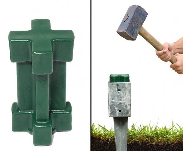 Einschlagwerkzeug für Bodenhülsen 9x9cm aus schlagfestem Kunststoff in grün