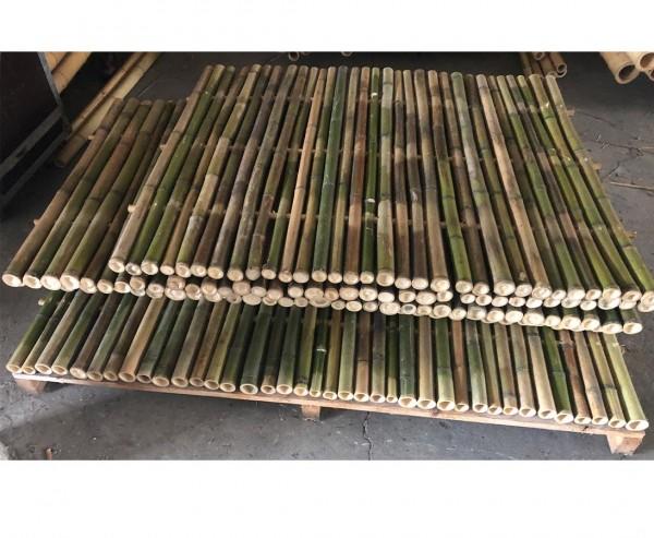 Sichtschutzwand aus naturgrünen Bambus 180x180cm starr mit Rohren 4- 5cm als B-Ware