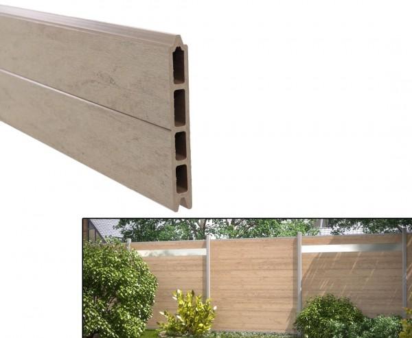 Profilbrett für Modulzaun, WPC sand mit 15x2,1x178