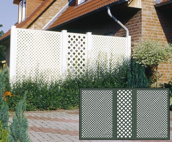 Terrassen Sichtschutz Set 1 grün mit 3 Basiselementen, Pfosten und Zubehör, Maße L:355 x H:190cm