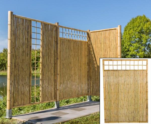 """Bambus Sichtschutz """"TEN"""" mit Gitter oben durchlaufend, 180x120cm"""