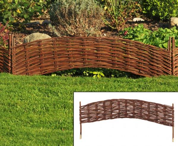 Beeteinfassungen, Griessee mit 100x 20cm aus Weide, mit Erdspieße ca. 15cm, gewölbt