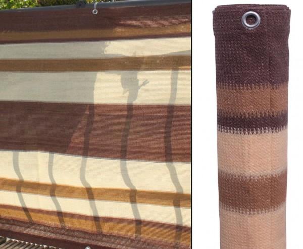 Balkonbespannung aus hochwertigen Kunststoffmaterial, 90x500cm, braun/beige/sand gestreift