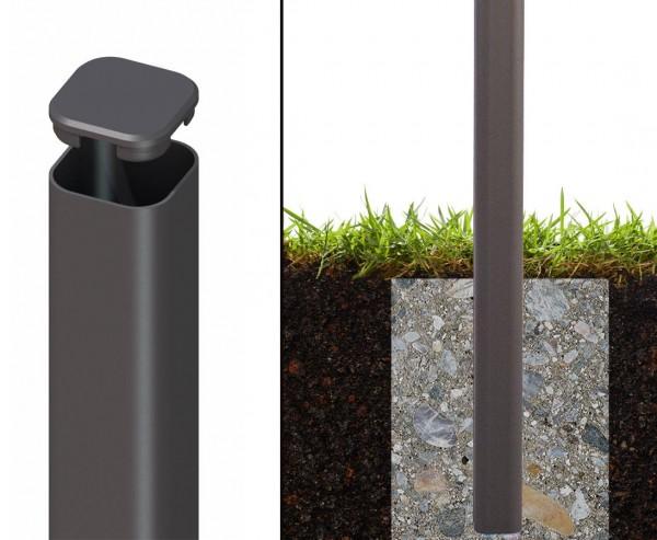 Zaunpfosten aus Metall anthrazit zum Einbetonieren 150cm
