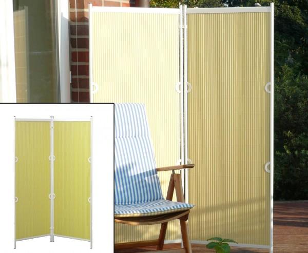 """Raumteiler, """"Rügen"""" 160 x 120cm pastellgelb/ weiß, 2-teilig"""