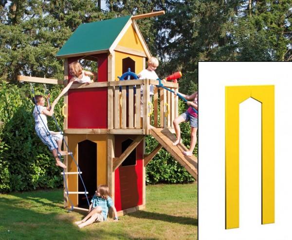 Spielhaus Wandelement mit Tür gelb, 138x90cm