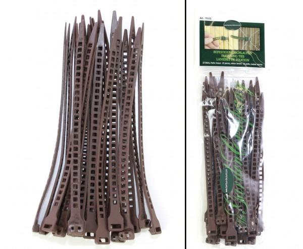 Schlaufen für Befestigung Sichtschutzmatten braun, 25 Stück