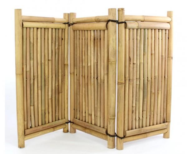 Raumteiler Bambus 3teilig mit 120x180cm gelbbraun mit  Rohren 3,5-6cm