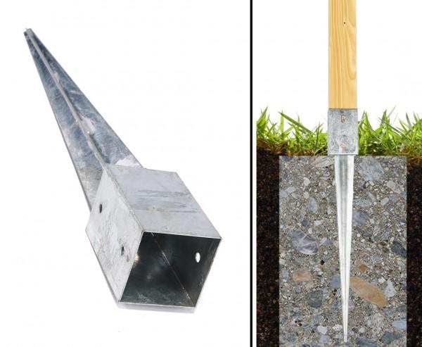 Einschlaghülsen für Zaunpfosten mit 9x9cm Länge 75cm