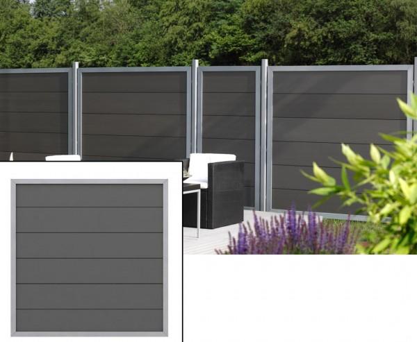 Sichtschutzwand Design WPC anthrazit Alu mit 180x180cm