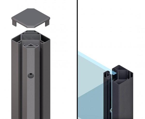 Klemmpfosten Eck 90° anthrazit für WPC Sichtschutzwand mit 105cm