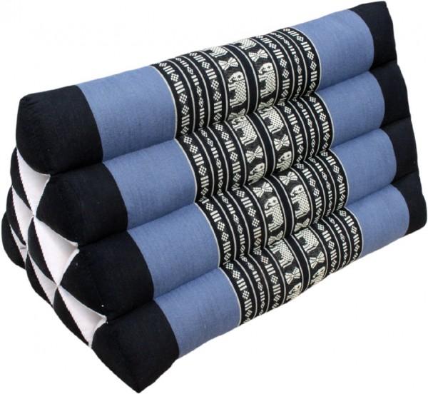 Dreieckskissen mit schwarz blauen Farbdesign, mit 30x30x50cm