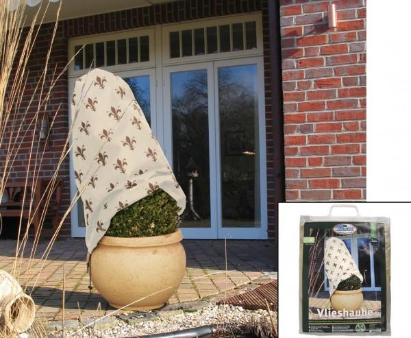 Winterschutz Vliesmütze, Haube mit Lilien Motiv, Höhe 110cm x Breite 90cm, beige/ braun farbig