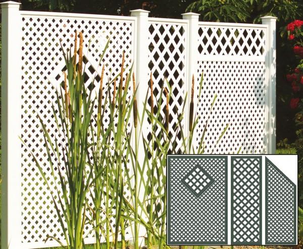 Sichtschutz Terrasse, Set 4 grün mit 3 Elementen, Pfosten und Zubehör, Maße L:295 x H:190cm