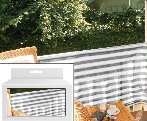 "Balkonbespannung ""günstig"" aus PP Material 90x500cm, grau/weiß"