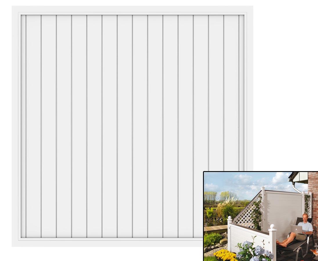 Sichtschutzzaun In Weiss Aus Kunststoff Elemente 180x180 Gunstig Kaufen