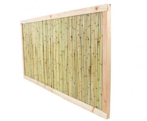 "Bambuszaun ""Koh Samui 2"" 90x180cm Bambusrohre Ø 1,8-2cm mit hellen Rahmen"