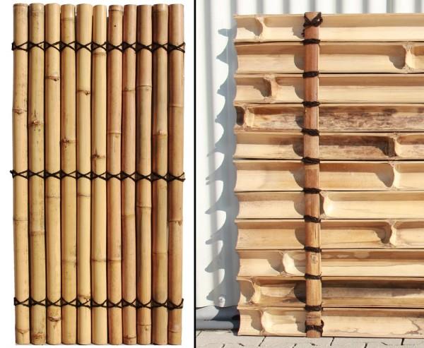 """Bambus Element """"Apas17"""" 180x90cm mit gelblich halben Bambusrohren Durch. 9 bis 10cm"""