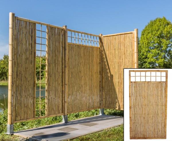 """Sichtschutz Bambus """"TEN"""" mit Gitter oben 180 x 90cm"""