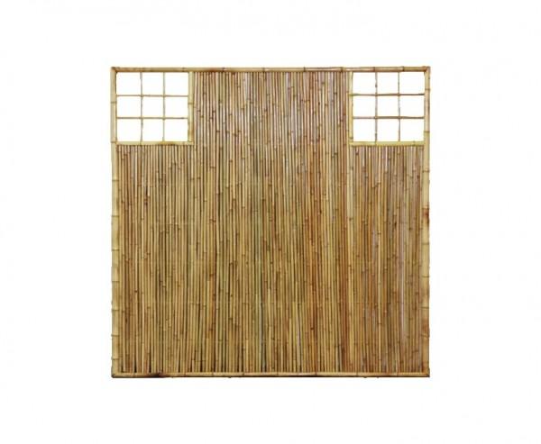 """Bambus Wand """"TEN"""" mit Gitter Ausschnitt oben rechts und links, 180 x 120cm"""