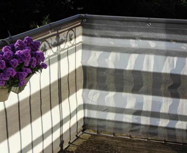 Balkonbespannung aus hochwertigen Kunststoffmaterial, 90x500cm, grau/anthrazit