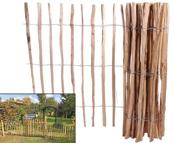 Holzzaun aus 3,5cm Kastanien Staketen mit 183 x 460cm