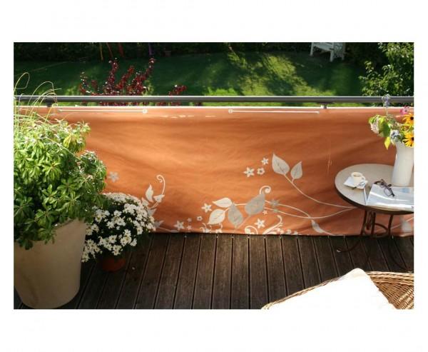 """Balkonverkleidung """"Fantasie"""", aus Polyesterstoff mit 90x300cm, terrakotta"""