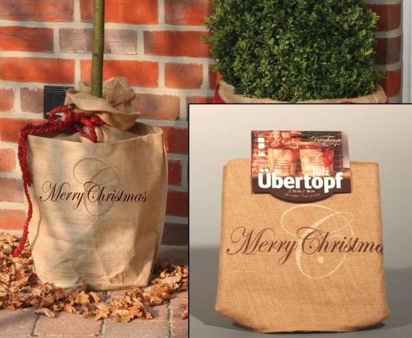 """Pflanzen überwintern mit Jute Übertopf, """"Merry Christmas"""" Gruß, Durch. 55 x 45cm"""