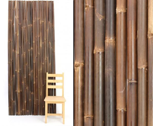 Zaun Bambus als Rolle braun schwarz 90x250cm mit Draht verbunden, Bambusrohre 4-6cm