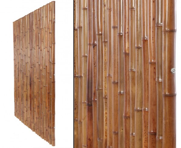 Bambuszaun 150x120cm aus karbonisierten 3,5- 4cm Rohren starr mit Gewindestange verbunden