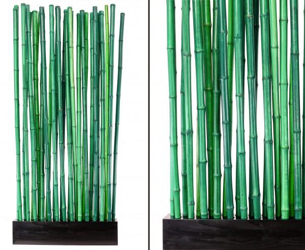 """Bambus Raumteiler """"Paris2"""" mit ca. 90 x 12 x 205cm, Sockel mit 27 Rohren grün 2,8 - 3,5cm"""