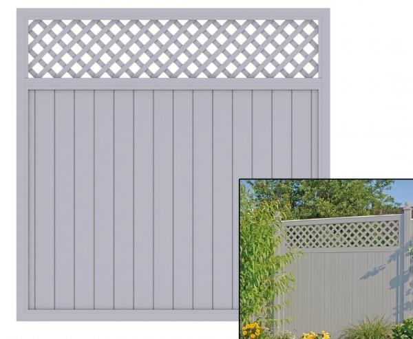 """Sichtschutzzaun mit Zierleiste """"Longlife Riva"""" grau, 180 x 180 aus Kunststoff"""