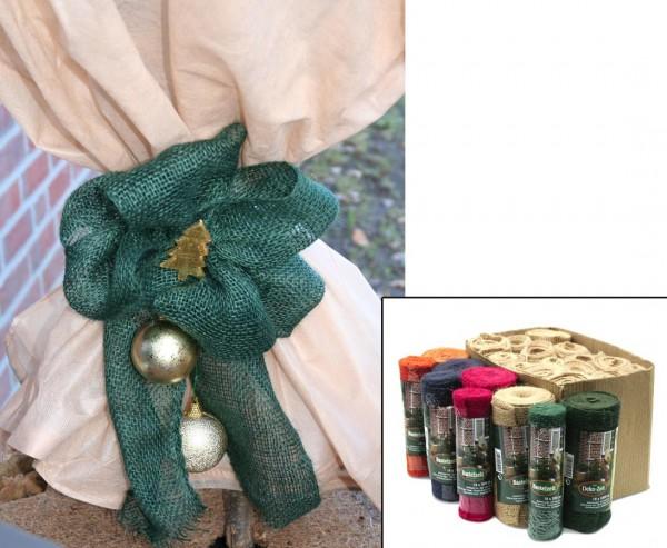 Juteband grün, 18 x 300cm, aus Bastfasern zum verschnürren und dekorieren