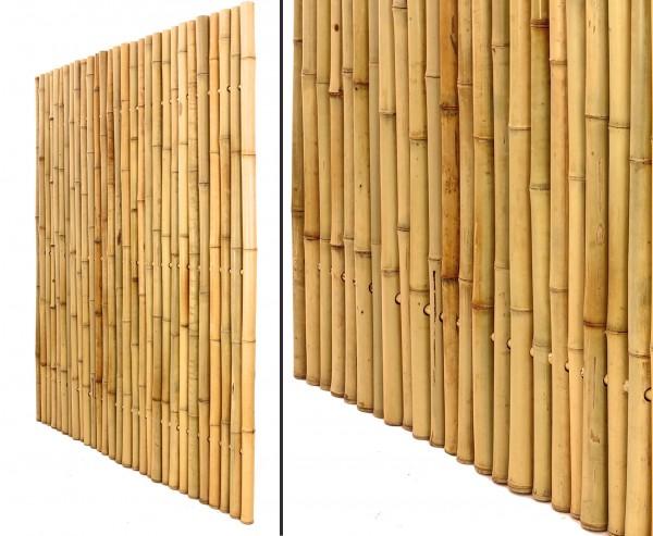 Bambuszaun, Moso gelb gebleicht, starr mittels Bambus verbunden mit 150 x120cm, Durch. 3,5- 4cm