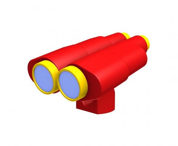 Doppelfernrohr rot-gelb aus Kunststoff für Spielturm