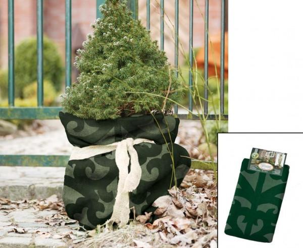 Winterschutz Jutesack, im Ornament Design, dunkel grün/ hellgrün, Abmessungen ca. 80 x 60cm
