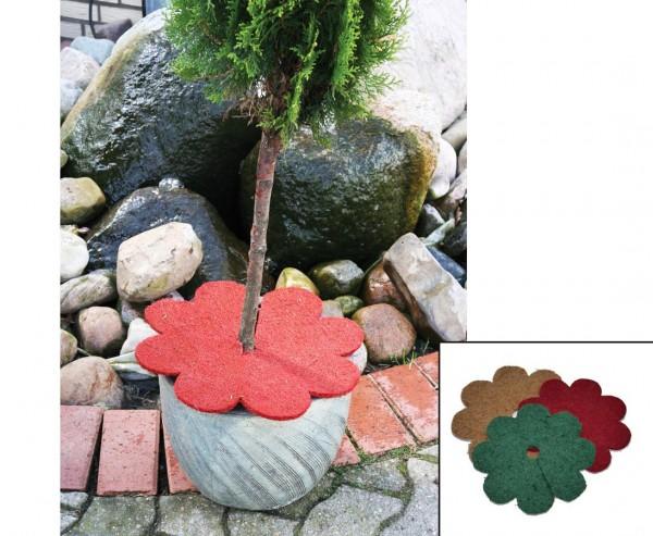 Topfabdeckung für Kübelpflanzen, Kokos Material in Blumenform, grün farbig, Durch. ca. 35cm