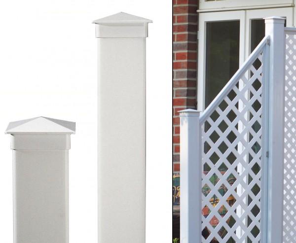 Pfosten für Sichtschutz Coventry weiss, 195 x 10cm