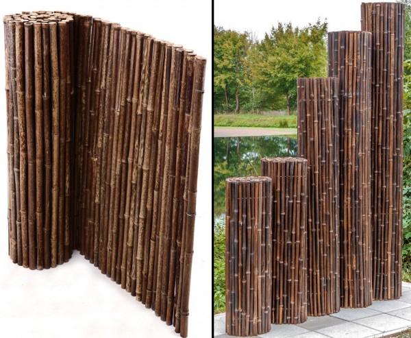 Schwarze Bambusmatte, 200x250 cm, Durchmesser Bambusstäbe ca. 24mm