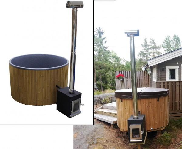 Hot Tub 180cm Set montiert mit Holzofen und Polyethylen Wanne schwarz marmoriert für Urlaub zu Hause
