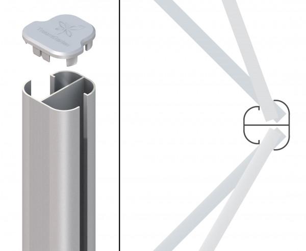 Eckpfosten Basic Erdverbau für WPC Zaun in silber mit 298cm, Winkel von 75° bis 180°