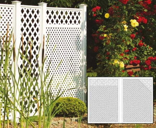 Sichtschutz Terrasse Set 3 weiß, mit 2 Basiselementen, Pfosten und Zubehör, Maße L:280 x H:190cm
