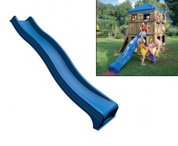 Kletterturm Wellenrutsche aus Kunststoff in blau, Länge 295cm
