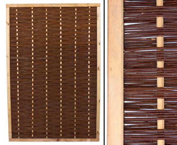 """Weidenzaun Element """"Mia"""" mit 180x120cm in Premium Qualität, gekochte Weide, Holz gebeizt"""