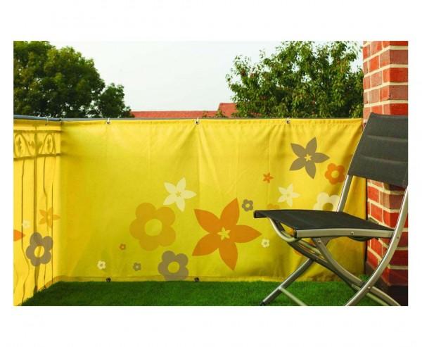 """Balkon Sichtschutz """"Flower"""", aus Polyesterstoff mit 90x300cm, gelb"""